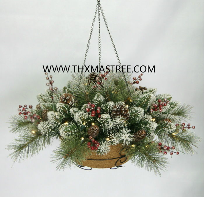 pre lit snowy decorated pvc hanging basket - Christmas Hanging Baskets